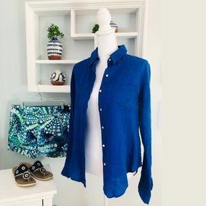 Lilly Pulitzer Sea View Linen Button Down S